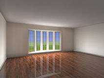 Empty Room. Spacious empty room with large bow window Royalty Free Stock Photos