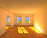 Empty Room. With strong sunlight shining through Royalty Free Stock Image