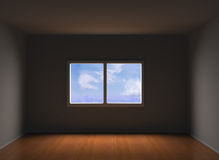 Empty room. 3d illustration of empty room with parquer floor Stock Images
