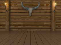 Empty room. Log wall with skull buffalo Royalty Free Stock Images