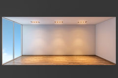 Empty room. Empty white room with lights on and wooden floor Royalty Free Stock Image
