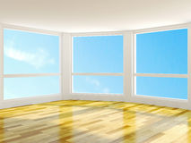 Empty room. With large windows Stock Photos