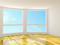 Empty room. With large windows Royalty Free Stock Images