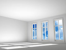 Empty room. In light tones with a sunlight and sky from a window Stock Image