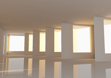 Empty room abstract wall and windows Royalty Free Stock Image