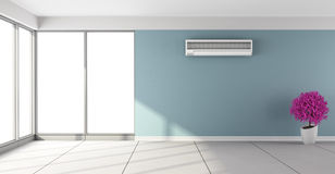 Empty room with air conditioner Stock Photos