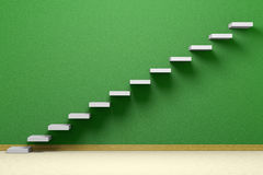 Empty room with ascending stairs with green wall Royalty Free Stock Photo