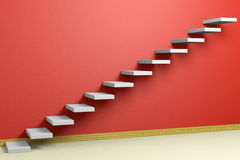 Empty room with ascending stairs with red wall diagonl view Stock Images