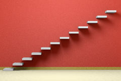 Empty room with ascending stairs with red wall Royalty Free Stock Photos