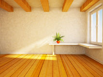 Empty room with the balks and a green plant. Royalty Free Stock Photography