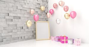 Empty Room With Balloons And Present With Empty White Board. 3D. Empty Room With Balloons And Present With Empty White Board On Colorful Wall And Reflection Royalty Free Stock Photography