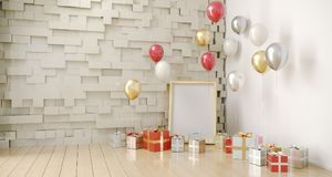Empty Room With Balloons And Present With Empty White Board. 3D. Empty Room With Balloons And Present With Empty White Board On Colorful Wall And Reflection Stock Images