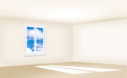 Empty room with beige walls, a window and a blue sky Stock Photography