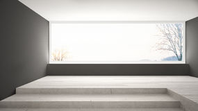 Empty room with big panoramic window and stairs, gray walls, min Stock Photo