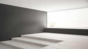 Empty room with big panoramic window and stairs, gray walls, min Stock Images