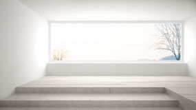 Empty room with big panoramic window and stairs, minimalist whit Royalty Free Stock Photos