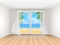 Empty room with big sliding window and sea view Stock Images