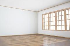 Empty room with big window. And wooden floor Stock Photo
