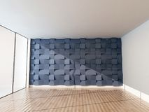 Empty room with the a big window and the creative tiles on the w Royalty Free Stock Photo