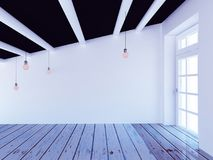 Empty room with the a big window, 3d Stock Images