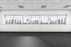 Empty room with big window 3d interior Stock Image