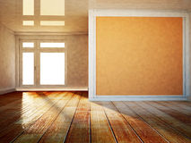 Empty room with a big window, 3d Stock Photography