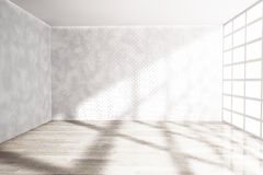 Empty Room with Big Window. 3d rendering Royalty Free Stock Photos