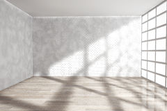 Empty Room with Big Window. 3d rendering Stock Photography