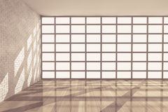 Empty Room with Big Window. 3d rendering Royalty Free Stock Photo