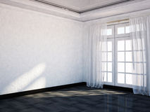 Empty  room with the big window, Royalty Free Stock Images