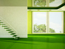 Empty room with a big window and a stairs Royalty Free Stock Image