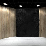 Empty room with Black Carpet on Wooden wall Stock Photo