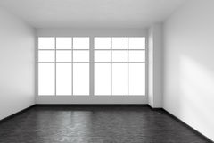 Empty room with black parquet floor, white walls and window, fro Royalty Free Stock Images