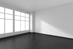 Empty room with black parquet floor, white walls and window Stock Photos
