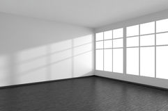 Empty room with black parquet floor, white walls and window Royalty Free Stock Photography