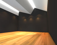 Empty room black wall with Ceiling serration. Home interior rendering with empty room black wall with Ceiling serration and decorated with wooden floors Royalty Free Stock Photo