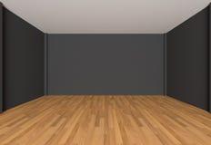 Empty room black wall Stock Photos