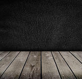 Empty room with black wall. Stock Photos
