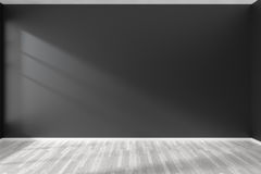 Empty room with black wall and white parquet floor Stock Photography