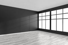 Empty room with black walls, white parquet floor and window Stock Images