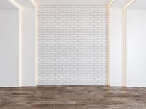 Empty room with blank brick wall, hidden light, parquet wood floor. vector illustration