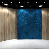Empty room with Blue Carpet on Wooden wall Royalty Free Stock Photo