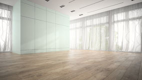 Empty room with blue cupboard 3D rendering Stock Photos