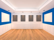 Empty room blue with frames gallery Stock Photography