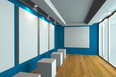 Empty room blue gallery Stock Image