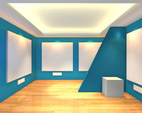 Empty room blue gallery Stock Photography