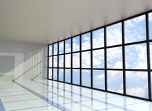 Empty room with the blue sky on the outside. 3D Rendering Stock Image