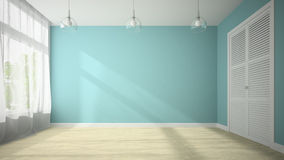 Empty room with blue wall 3D rendering Stock Images