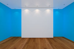 Empty room blue wall and wood floor Royalty Free Stock Images