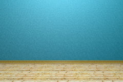 Empty room with blue wall and wooden floor Stock Photos